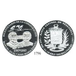 Venezuela (Paris), proof 500 Bolivares, 1997-A, Conspiracy Bicentennial, encapsulated NGC PF-69 Ultr