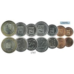 Venezuela, 2007 first day of issue complete denomination set of 7 coins (various metals, 1 bolivar a