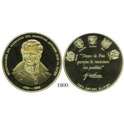 Bolivia/Colombia/Ecuador/Peru/Venezuela, proof gold medal, 1995, Sucre Bicentennial (1 oz of .900 go
