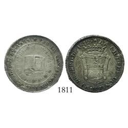 Guatemala, silver 2 reales-sized proclamation medal, Ferdinand VII, 1812, Constitution.