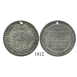 San Luis Potosi, Mexico, silver 2 reales-sized proclamation medal, Charles IV, 1790.