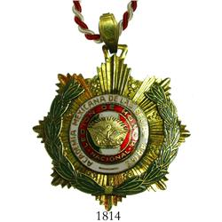 Mexico, gilt- and enameled-metal honor prize medal with cord for hanging, probably 1900s, with legen