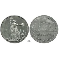 "Peru, silver ""10 reales""-sized proclamation medal, 1839 (Constitution)."