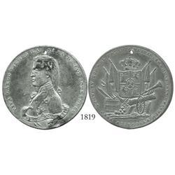 Spain, pewter medal of Ferdinand VII (1808-33), holed as made, with legends VIVA LARGO TIEMPO LA RAZ
