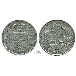 Uruguay, silver token (early 1800s?) with reverse made to look like a Mexican bust-type 4 reales of