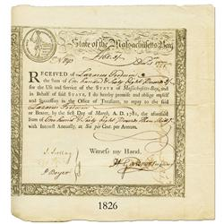 Massachusetts, 168 pounds 3 shillings, 1777.