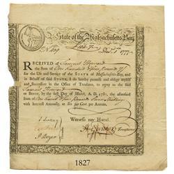 Massachusetts, 104 pounds 7 shillings, 1777.