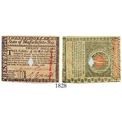 Massachusetts, 20 dollars, 1780, PMG Choice Uncirculated-64 Exceptional Paper Quality.
