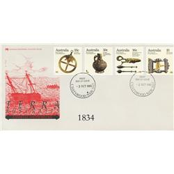 Australia, 1985 set of 4 stamps (33c, 50c, 90c and $1, all depicting artifacts from the wrecks) on o