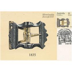 Australia, 1985 $1 stamp on special FDC postcard showing a silver buckle from the wreck of the Zeewi