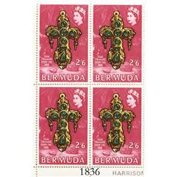 Bermuda, 1969 corner plate block (4 stamps) of 2 shillings 6 pence per stamp (red), showing Teddy Tu