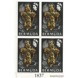 Bermuda, 1969 corner plate block (4 stamps) of 2 shillings per stamp (black), showing Teddy Tucker's