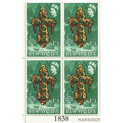 Bermuda, 1969 corner plate block (4 stamps) of 1 shilling 3 pence per stamp (green), showing Teddy T