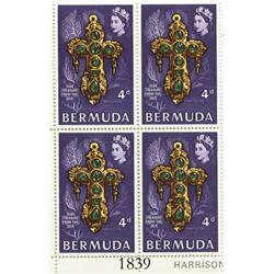 Bermuda, 1969 corner plate block (4 stamps) of 4 pence per stamp (purple), showing Teddy Tucker's fa
