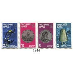 Turks & Caicos, 1973 set of 4 stamps (3c, 5c, 10c and 30c) showing treasure hunting and the famous 1
