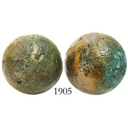 Pair of small brass cannonballs (rare).