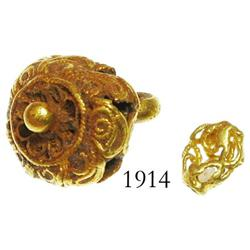 Gold filigree button and bead.