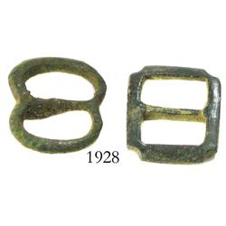 Lot of 2 small, bronze buckles.