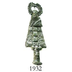 Small, bronze prayer pendant depicting St. Bartholomew.