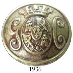Ornate silver officer's button with Bourbon coat-of-arms and initials G and C.