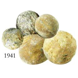 Lot of 5 small, lead musket-balls.