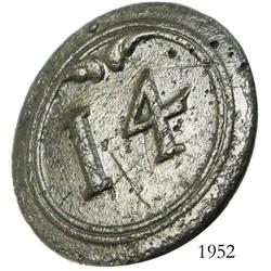 "Small, brass, officer's uniform button with ""14"" on front."