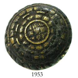 Large, brass uniform button with encrustation on back.