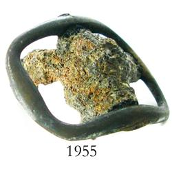 Small, encrusted, brass shoe buckle.