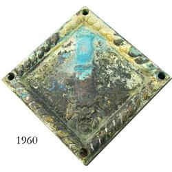 Bronze cannon carriage plate.