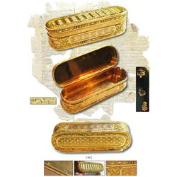 "Ornate French gold boîte-en-baignoire (oblong snuff box, literally a ""bathtub box""), Louis XVI, made"