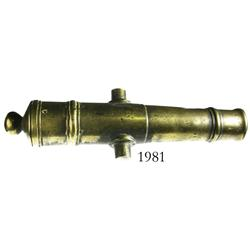 Small brass cannon, probably 1700s-1800s.