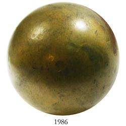 Large brass cannonball from Ecuador.