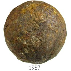 Large iron cannonball found near Castillo de San Marcos in St. Augustine, Florida.