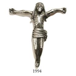Large silver Christ figure from crucifix, colonial Potosi, ca. 1750.