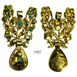 Gold/emerald pendant, Jewish Catalan (16th-century revival style), late 18th/early19th century.