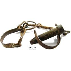 Large, iron slave shackles, mid-1800s.