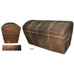 Large wooden chest, believed to be from the late 1800s.