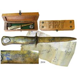Art McKee's personal brass dive knife, signed and dated 1937 and with a cob soldered on to the handl
