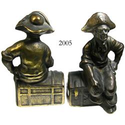 Pair of brass pirate bookends, early 20th century.