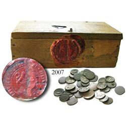 Small, wooden box with French Indo-China wax seals on outside and containing 33 small copper coins f