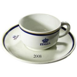 Cup and saucer marked ITALIA, same as used on the Andrea Doria (1956), second-class service.