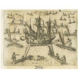 "German woodcut engraving, early 1600s, showing a galleon and natives in canoes off an island (""I. La"