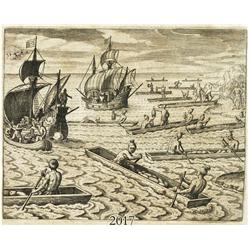German woodcut engraving, early 1600s, showing 2 galleons and natives in canoes off an island (which