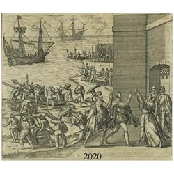 German woodcut engraving, early 1600s, showing 2 galleons outside a fort where soldiers are unloadin