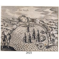 German woodcut engraving, early 1600s, showing 5 galleons in the harbor of Valparaiso, Chile, with a