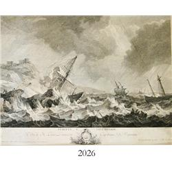 "French engraving, ca. 1750, by Jacques Philippe Le Bas (Paris) entitled ""Tempete, ve Veue D'Italie,"""