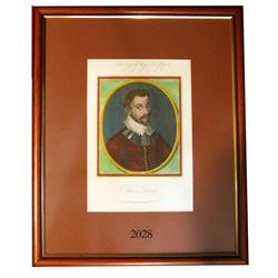 English engraving by John Goldar (London, 1786) of Sir Francis Drake, hand colored and professionall