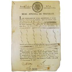 Original customs document from Trujillo in colonial Peru dated 1787.