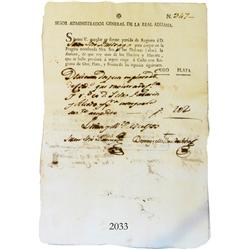 Original ship-lading document from Lima in colonial Peru dated 1793.