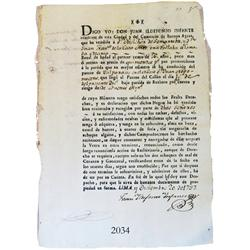 Original slave-sale document from Lima in colonial Peru dated 1797.